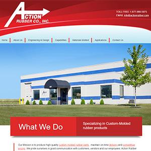 Screen capture of Action Rubber website