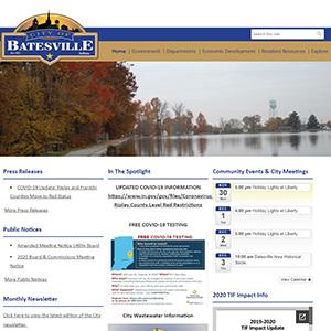 Screen capture of City of Batesville website
