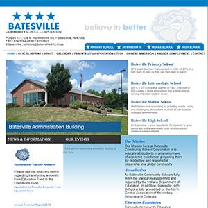 Screen capture of Batesville Community School Corporation website