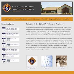 Screen capture of Batesville Knights of Columbus website