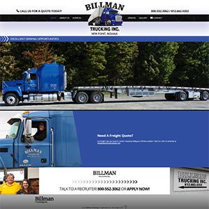 Screen capture of Billman Trucking website