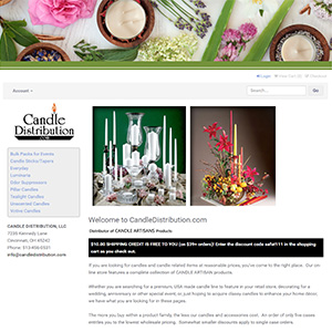 Screen capture of Candle Distribution website