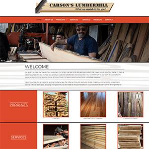 Screen capture of Carson's Lumbermill website