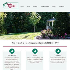 Screen capture of Creative Landscapes website