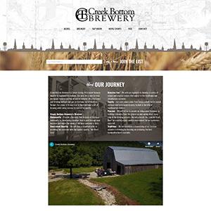 Screen capture of Creek Bottom Brewery website