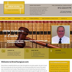Screen capture of Drew Young Law website