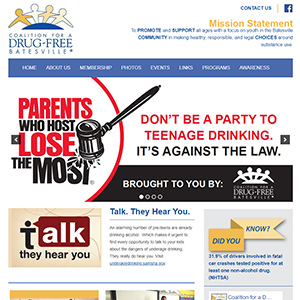 Screen capture of Coalition for a Drug Free Batesville website