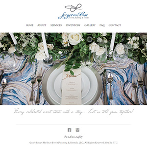 Screen capture of Forget Me Knot Event Planning website