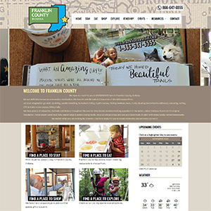 Screen capture of Franklin County Welcome Center website
