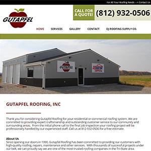 Screen capture of Gutapfel Roofing website