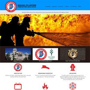 Screen capture of Indiana Volunteer Firefighters Association website