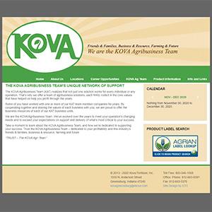 Screen capture of Kova Fertilizer website