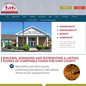 Screen capture of Ohio County Community Foundation website