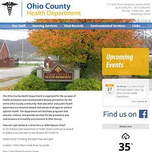 Screen capture of Ohio County Health Department website