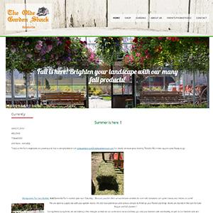 Screen capture of Olde Garden Shack website