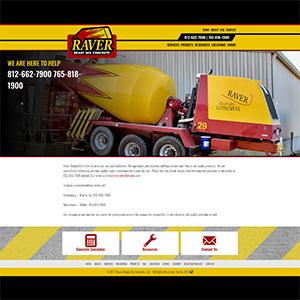 Screen capture of Raver Ready Mix Concrete website