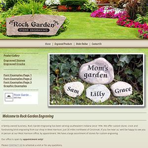 Screen capture of Rock Garden Engraving website
