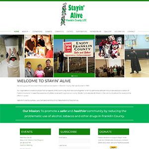 Screen capture of Stayin' Alive website