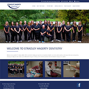 Screen capture of Stradley Hagerty Dentistry website