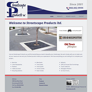 Screen capture of Streetscape Products website
