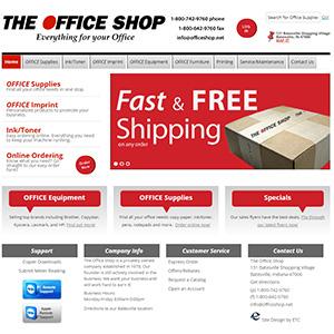 Screen capture of The Office Shop website