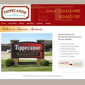 Screen capture of Tippecanoe Apartments website