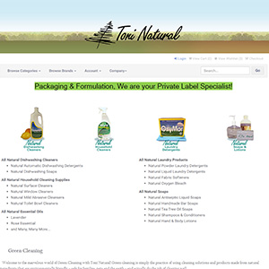 Screen capture of Toni Natural Products website