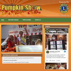Screen capture of Versailles Pumpkin Show website