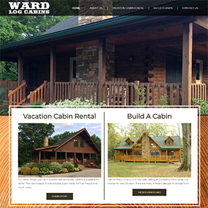 Screen capture of Ward Log Cabins website