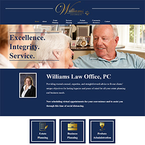 Screen capture of Williams Law Office website