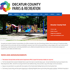 Screen capture of Decatur County Parks and Recreation website