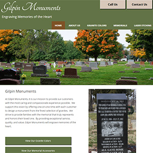 Screen capture of Gilpin Monuments website