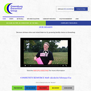 Screen capture of Greensburg Prevention Group website