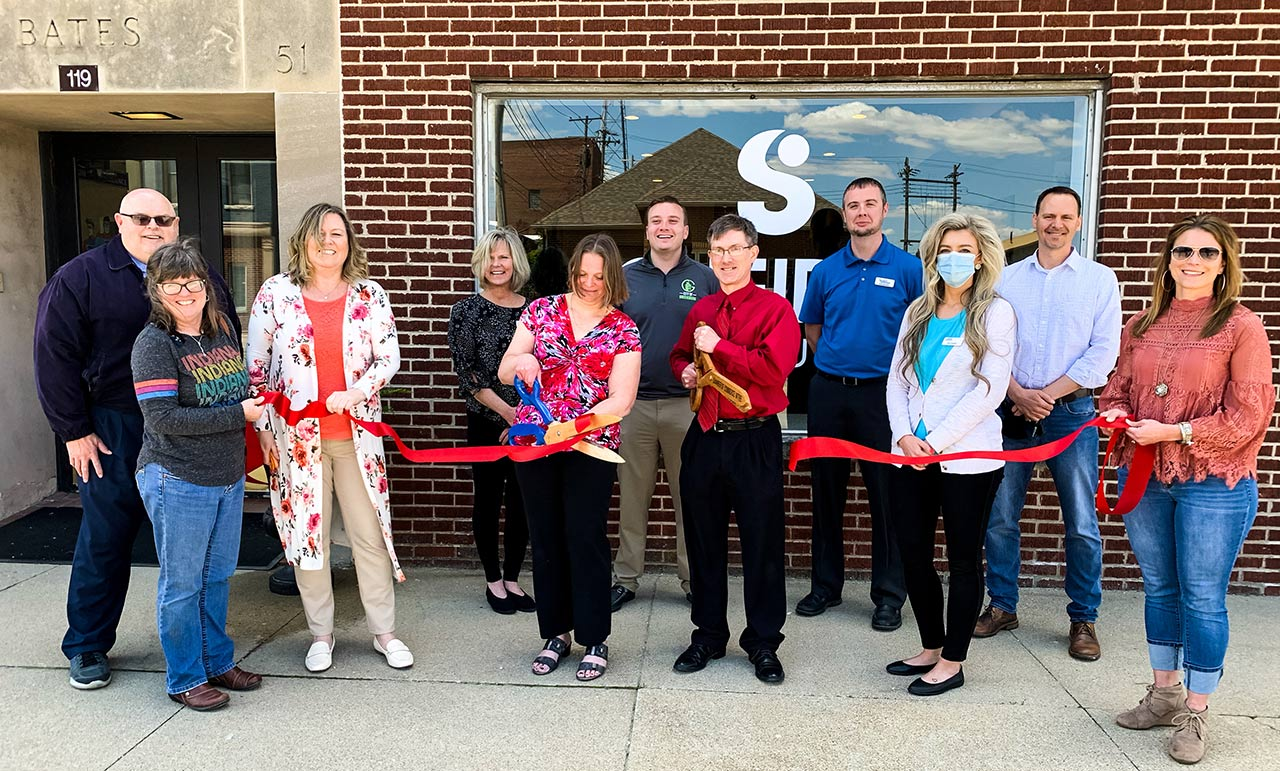 Scheidler Web Solutions ribbon cutting with Greensburg/Decatur County Chamber of Commerce and Batesville Area Chamber of Commerce, May 14, 2021. Photo courtesy wrbiradio.com.