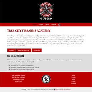 Screen capture of Tree City Firearms Academy website